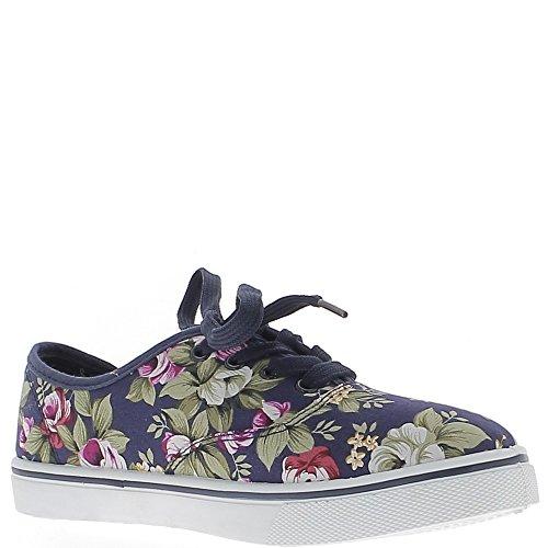 Baskets ville femme bleues motifs fleurs
