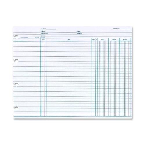 Wilson Jones Ledger Sheet, 3 Col, 9-1/4''x11-7/8'', 100/PK, White (N2D)