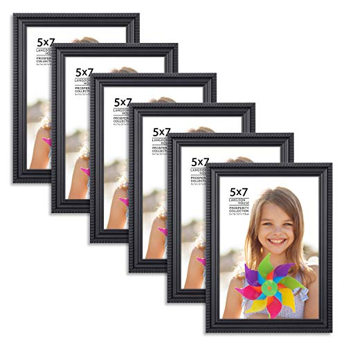 Langdons 5x7 Picture Frames (6 Pack, Black) Black Picture Frame Set, Wall Mount or Table Top, Set of 6 Prosperity Collection