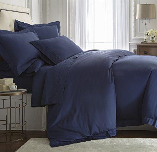 Cozy Beddings Darcy 3pc Duvet Set Hemstitch Design eucalyptus tencel lyocell Cotton Navy Blue Color Queen Size Bed