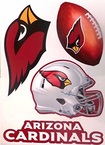 Arizona Cardinals Team Set of 4 Cardinals Logo Helmet Football Sign - Official Peel and Stick Removable & Re-Usable NFL Vinyl Wall Graphics 15