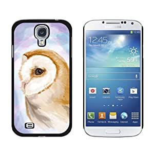 New style Barn Owl Purple Watercolor Bird Snap-On Hard Protective Case for Samsung Galaxy S4 - Non-Retail Packaging - Black wangjiang maoyi