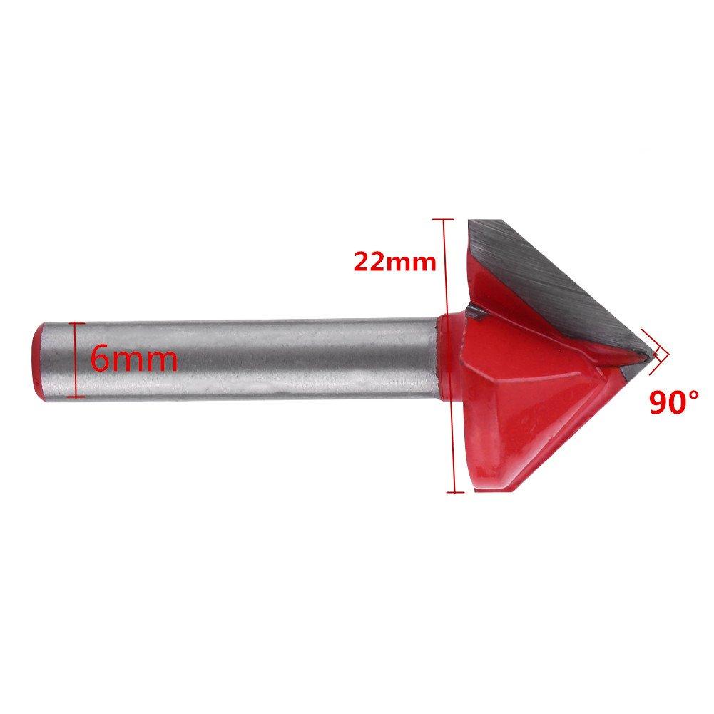 90 gradi Fresa 3D per la lavorazione del legno Router in acciaio al tungsteno Fresa per tagliente Sharp V Groove 60//90//120//150 Grado 6mm Utensile per la lavorazione del legno di Shank