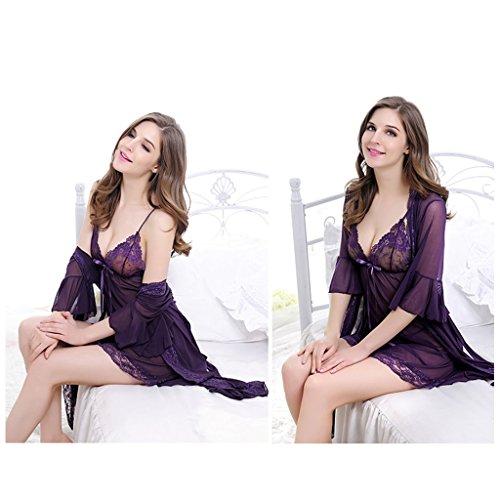 calda Deep a maniche vestito Deep S pezzi garza sexy pizzo di in lingerie Color purple gonna tre trasparente grandi gonna e sexy pigiama Size Purple corte Femmina dimensioni accappatoio CxzwpXYYq