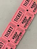 500 Pink 50/50 Double Stub Raffle Tickets