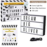 Doingart Mini LED Cinema Light Box Cinematic Light Box, include 90 Changeable Letters with Emoji, Symbols and Numbers DIY Marquee Signs for Home and Wedding Decor
