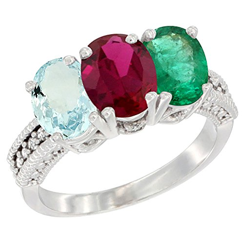 Oval Emerald 3 Stone Ring - 4