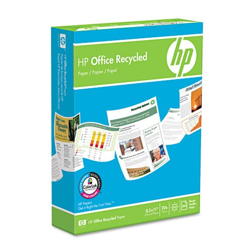 HP : Recycled Office Paper, 92 Brightness, 20lb, Letter, 5,000 Sheets -:- Sold as 2 Packs of - 10 - / - Total of 20 ()