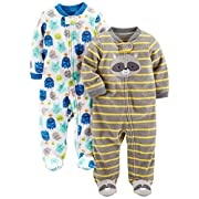Simple Joys by Carter's Baby Boys' 2-Pack Fleece Footed Sleep and Play, Monsters/Raccoon, 0-3 Months