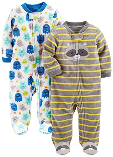 (Simple Joys by Carter's Baby Boys' 2-Pack Fleece Footed Sleep and Play, Monsters/Raccoon, Preemie)