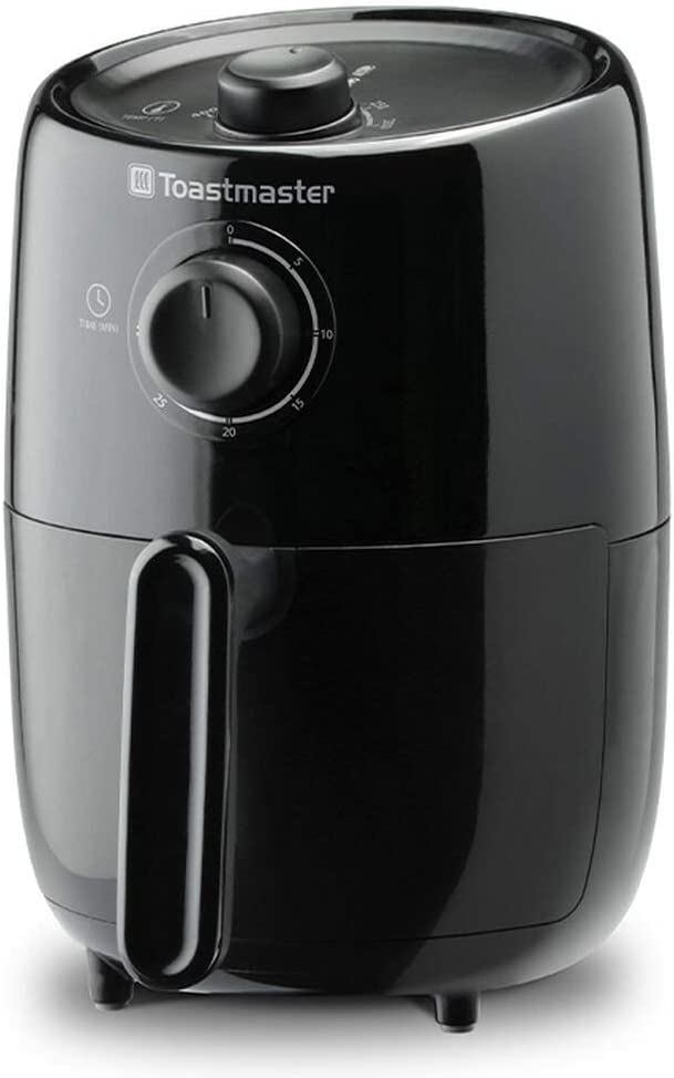 Toastmaster 2 Quart Air Fryer oil free frying auto shut off, nonstick inner basket (Black)
