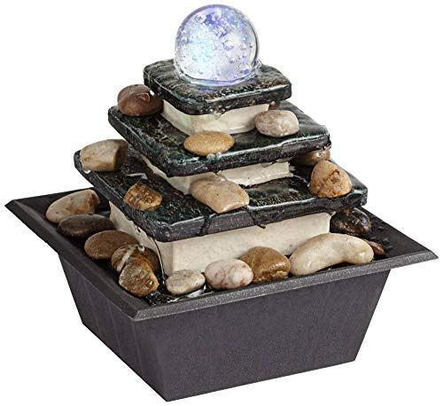 John Timberland Zen Tabletop Water Fountain with LED Light Rolling Ball 3-Tier for Indoor Table Desk ()