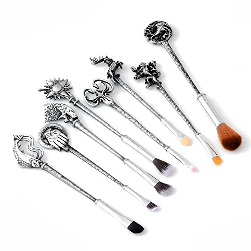 REINDEAR 8 PCs Cosmetic Collection GOT Game of Thrones Houses Metal Makeup Brushes US Seller (Silver)]()