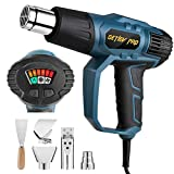 Heat Gun, DETLEV PRO Hot Air Gun 1500W 50℃- 550℃ Adjustable Heat Levels with Indicator Light 5 Attachments for DIY, Lighting Charcoal, Stripping Paint, Shrinking PVC