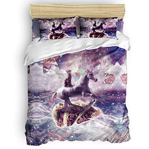 KAROLA Duvet Covers Bedding Sets Queen Size,Cat and Pizza Riding a Unicorn in Space(90 by 92 inch),Duvet with 1 Bed Sheet,1 Quilt Cover and 2 Pillowcases,Zipper,Ties