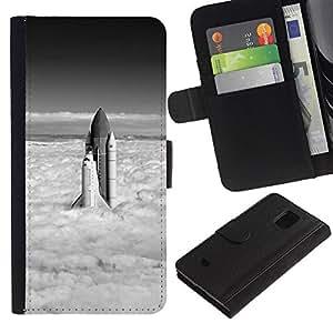 LECELL--Cuero de la tarjeta la carpeta del tirón Smartphone Slots Protección Holder For Samsung Galaxy S5 Mini, SM-G800 -- Space Shuttle Nubes --