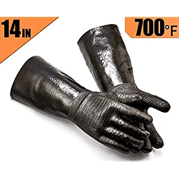 RAPICCA Griller BBQ Heat Resistant Insulated Cooking Gloves for Barbecue/Grill/Smoker/Fry Turkey/Pot Holder/Oven mitt/Baking, Waterproof Neoprene Coating with Textured Palms Long Sleeve (14-Inch)