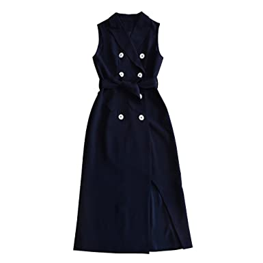 Sun Lorence New Women Navy Blue Double Breasted Slim Fit Sleeveless
