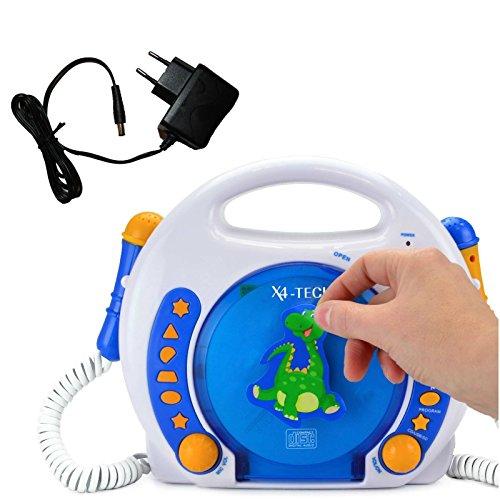 X4-Tech Bobby Joey Kinder CD-Player MP3 Blau-Weiss-Orange incl. Netzadapter