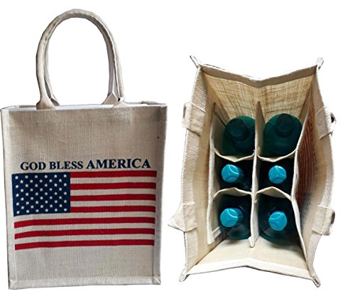 KVR natural Jute burlap wine beer water bottle cum can carrier bag God Bless America printed Grocery & lunch bag, Eco Environment Friendly versatile flexible(6 bottle bag, - Uk Kate Space
