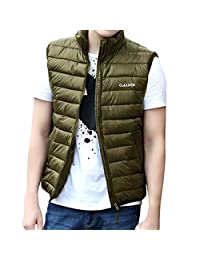 Pishon Men's Lightweight Vest Solid Stand Collar Full Zip Sportwear Puffer Vests