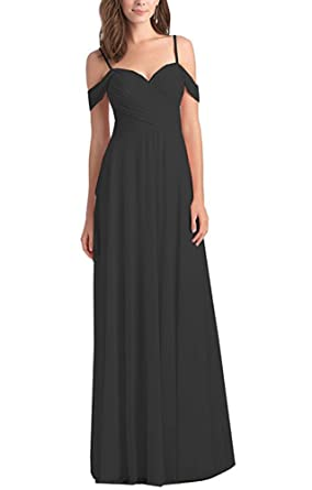 5867a17e23156 Lilyla Women's Chiffon Off Shoulder Ruched Bridesmaid Dresses Long Formal  Prom Dress for Women 2019 Black