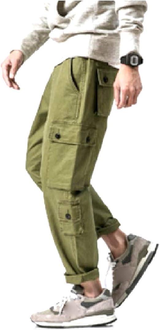 Candiyer Men Cotton Plus Size Outwear Multi-Pockets Tactical Cargo Pants
