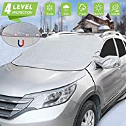 Car Windshield Snow Ice Cover Magnetic Winter Frost Protector Cover with 2 Mirror Covers, Windshield Guard Wat