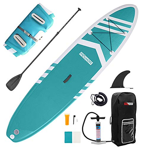 "PEXMOR Inflatable Stand Up Paddle Boards for Fishing Yoga Paddle Boarding with SUP Accessories & Carrying Storage Bag Surf Control, Non-Slip Deck, Metal D Rings Youth & Adult 10.5' X 30"" X 6"""