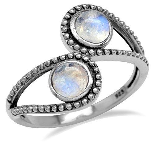 Natural Moonstone 925 Sterling Silver Bali/Balinese Style Bypass Ring Size (Balinese Silver Ring)