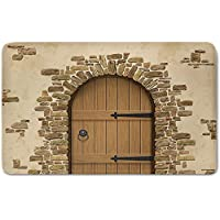 Memory Foam Bath Mat,Rustic,Wine Cellar Entrance Stone Arch Ancient Architecture European Building DecorativePlush Wanderlust Bathroom Decor Mat Rug Carpet with Anti-Slip Backing,Sand Brown Pale Brow