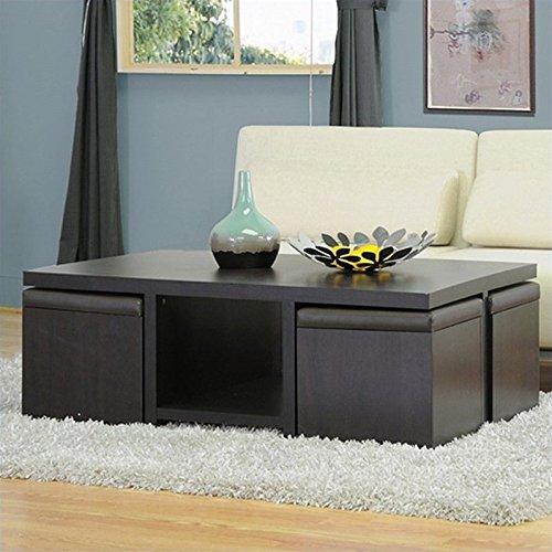 - Baxton Studio Prescott 5-Piece Modern Table and Stool Set with Hidden Storage