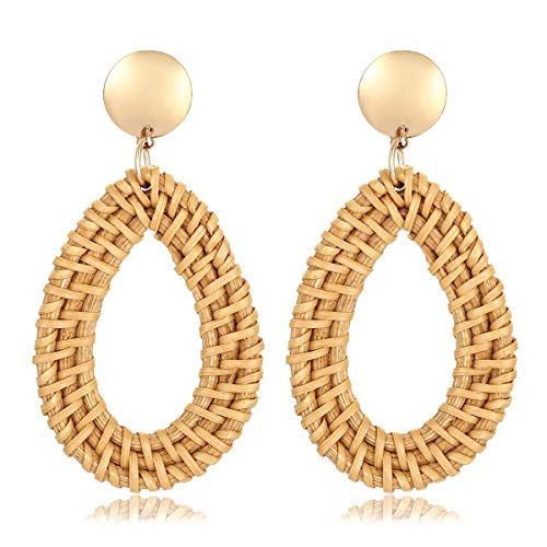 ATIMIGO Rattan Hoop Earrings Handmade Woven Straw Teardrop Dangle Earrings Gold Disc Bohemian Lightweight Stud Earrings for Women Girls
