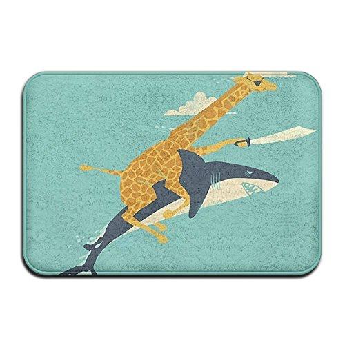 Homlife Rectangle Thin Doormats Funny Giraffe and Shark Illustration Entrance Mat Non-Slip Indoor Outdoor Area Rug Bathroom Mats Coral Fleece Home Decor by Homlife