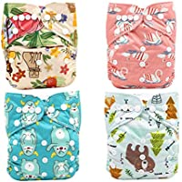 Baby Cloth Diapers Pack of 10 Adorable Designs Adjustable Washable and Reusable Leak Proof Pocket Diapers Baby Girls…