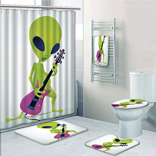 Bathroom 5 Piece Set Shower Curtain 3D Print Customized,Popstar Party,Cartoon Alien Character Playing Electric Guitar Music Monster Decorative,Apple Green Pink Navy Blue,Graph Customizatio