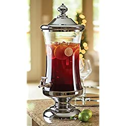 Shannon Crystal Horizon Chrome and Glass Mouth Beverage Dispenser Party Catering Buffet-2.5 Gallon