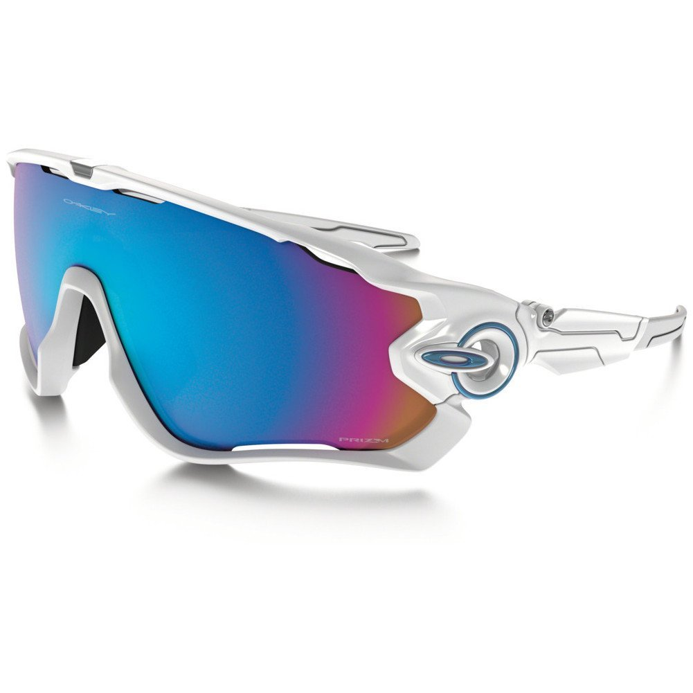 Oakley Men's OO9290 Jawbreaker Shield Sunglasses, Polished White/Prizm Sapphire Snow, 31 mm by Oakley