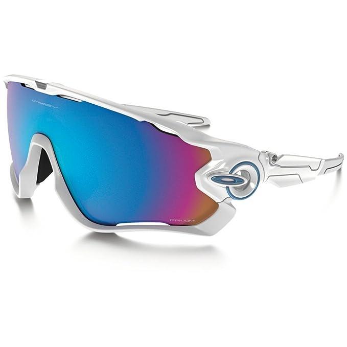 176db29076 Oakley Jawbreaker - anteojos de sol rectangulares de iridio no polarizadas,  color blanco pulido,