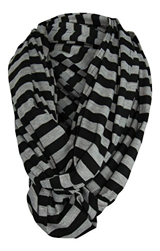 Wearable Infinity Nursing Cover for Breast-Feeding Moms by Tykes & Tails - Black & Gray Stripe Pattern. Multi-Use as Scarf, Burp Cloth, Changing Pad, or Blanket