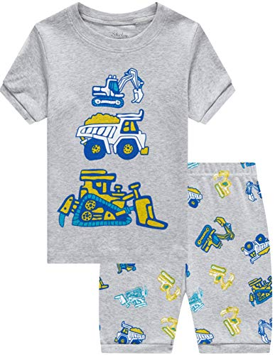 shelry Pajamas for Boys Summer Children Truck Sleepwear Kids 100% Cotton Short Set 3t]()