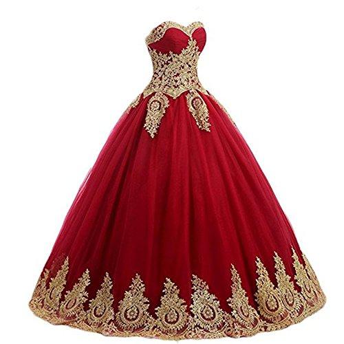 beb52d8b8e0 Diandiai Women s Gold Lace Applique Prom Ball Gown Quinceanera Dresses  Wedding Party Dress Plus Size Burgundy