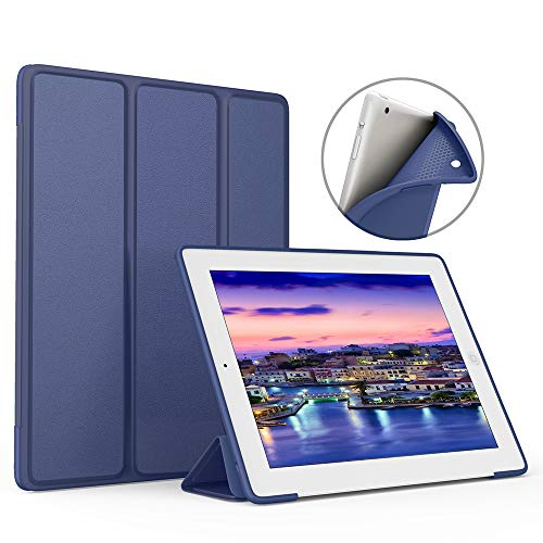 Generation Ipad 2 - IPad case ZOYU for old ipad 2/3/4 9.7 inch case Slim Lightweight Tri-Fold Silicone Stand Cover with Auto Sleep/Wake Function ,for old iPad 2th/3th/4th Generation case (ipad 4 case, Navy)