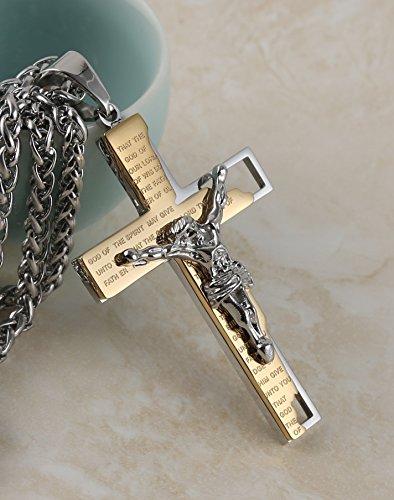 HZMAN Men's Stainless Steel Cross Crucifix Bible Prayer Pendant Necklace 24'' Chain Gold by HZMAN (Image #1)