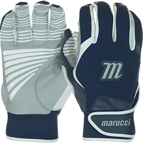 Marucci Youth Venture Batting Gloves, Navy Blue, Large