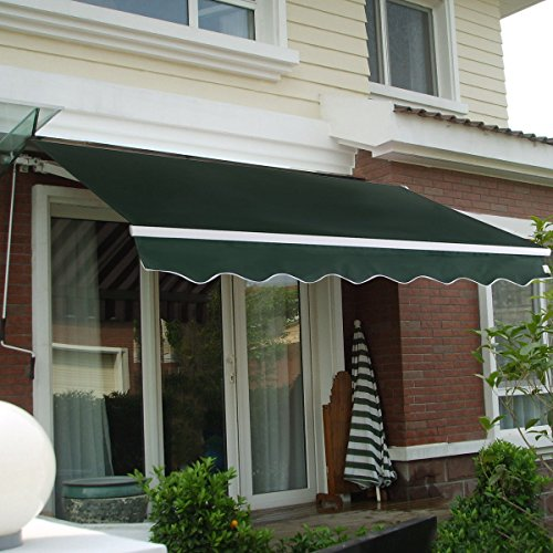 Manual Patio 8.2'×6.5' Retractable Deck Awning Sunshade Shelter Canopy Outdoor:New free shipping by WW shop (green)