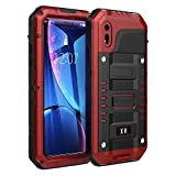 iPhone XR Case,Beasyjoy Heavy Duty Built-in Screen Full Body Protective Waterproof Shockproof Tough Rugged Hybrid Military Grade Defender Outdoor(Red)