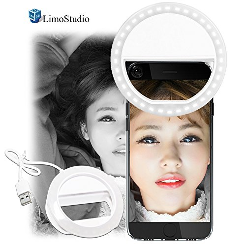 LimoStudio LED Portable Mini Selfie Ring Light for Smartphone, Camera Light for iPhone, iPad, Samsung Galaxy, Brightness Level Control, Rechargeable USB Cable, Photo Studio, AGG2141 by LimoStudio