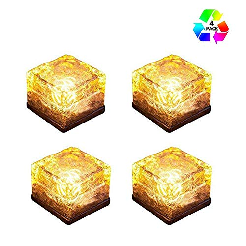 DZWJ Solar Ice Cube LED Light,Buried Patio Lamp Waterproof Sloar Brick Lights Frosted Glass Square Cube Rock Lights for Garden Courtyard Pathway 4 Pack,Yellow
