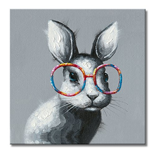 FLY SPRAY 1 Panel Framed 100% Hand Painted Oil Paintings Canvas Wall Art Rabbit with Glasses Bunny Animal Modern Abstract Artwork Painting for Living Room Bedroom Office Home ()
